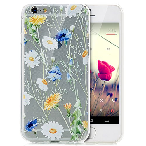 iPhone 6S Hülle,iPhone 6 Hülle,iPhone 6S / 6 Schutzhülle Case,ikasus® TPU Silikon Schutzhülle Case Hülle für iPhone 6S / 6,Durchsichtig mit Indische Sonne Schmetterling Blumen Muster Handyhülle iPhone Gänseblümchen