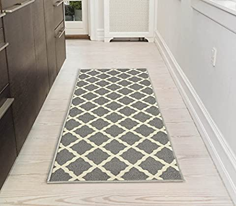 Ottomanson Glamour Collection Contemporary Moroccan Trellis Design Kids Lattice Area (Non-Slip) Kitchen and Bathroom Mat Rug, Grey, 26