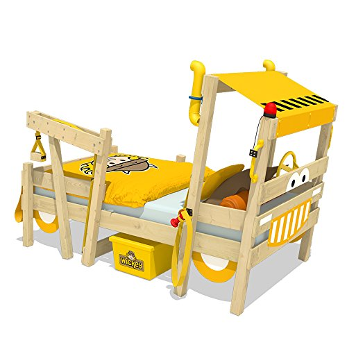 WICKEY Kinderbett 'CrAzY Sparky Max' im Bagger-Look - Einzelbett aus Massivholz - 90x200 cm
