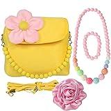 Kilofly, borsetta in peluche per bambini + molletta per capelli con grande rosa + collana + bracciale, giallo