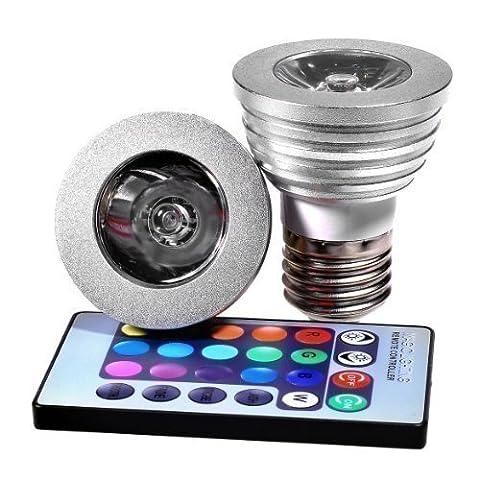 HI End 3W E27 Télécommande LED RGB Ampoule Lumière Changement de Couleur Feu de Projecteur