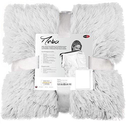 CelinaTex Minka Kuscheldecke Felldecke Tagesdecke Creme weiß Grau 150x200 Sofadecke Flokati Wohndecke Flauschig 5000072