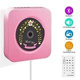 CD-Player, Wrcibo UKW-Radio HiFi Stereoanlage (MP3-fähiger CD-Player, USB-Port, Aux-in, Fernbedienung, Stand und Wandmontage) -Rosa