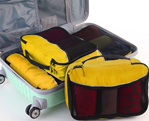 Packwürfel Kleidertaschen Packing cubes Koffertaschen für angenehmes Reisen und aufgeräumte Koffer -Große und mittelgroße Taschen zum Schutz und zur Komprimierung von vielen Kleidungsstücken, Schuhen  Large-Yellow