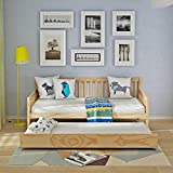 Single Wooden Day Bed Frame Guest Sofa Bedstead Base With Pull out Trundle Underbed For Lounge Bedroom Furniture 3FT (Natural)