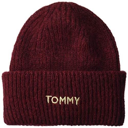 Tommy Hilfiger Damen Effortless Beanie Strickmütze, Rot (Red Gbh), One Size (Herstellergröße:OS) -