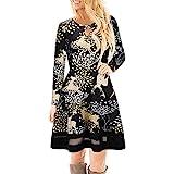 YWLINK Damen Elegant Weihnachten Rentier Gedruckt Spitzenkleid Damen Langarm Minikleid(XL,Schwarz a)