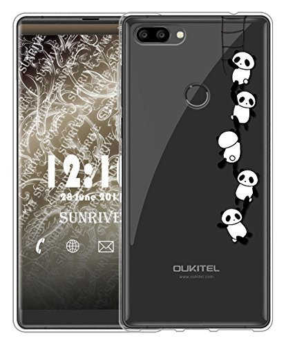Sunrive Für OUKITEL Mix 2 Hülle Silikon, Transparent Handyhülle Schutzhülle Etui Case Backcover für OUKITEL Mix 2(TPU Panda 1)+Gratis Universal Eingabestift