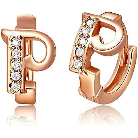 Daesar Joyería Pendientes de Mujer, Oro Rosa Pendientes con Circonita CZ Letra P