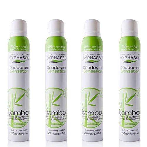 Byphasse LOT DE 4 - Déodorant spray extrait de bambou - 250 ml - Tous types de peaux