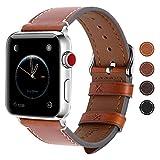 Fullmosa Apple Watch Armband 38mm und 42mm, Wax Series iWatch Leder Band/Armbänder für Apple Watch Series 3, Series 2, Series 1,42mm Uhrenarmband, Dunkelbraun + Silber Schnalle