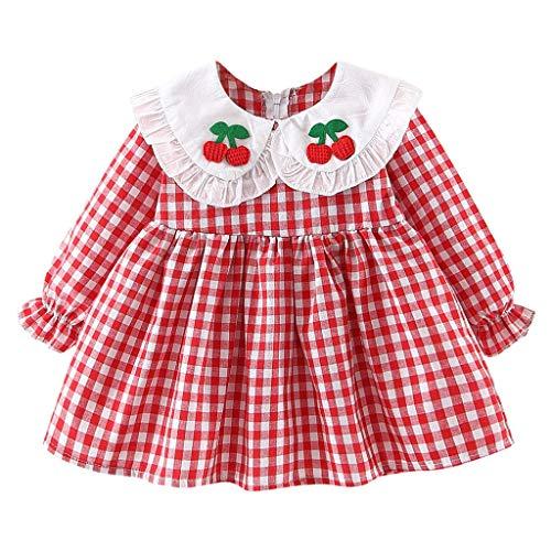 INLLADDY Kleid Kostüm Mädchen Baby Girl Plaid Prinzessin Kleid Cherry Stickerei Cute Casual Kleidung Rot Höhe:60cm (Cute Kid Katze Kostüm)