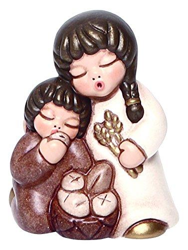 THUN Coppia di Bimbi Che Mangiano Pane Presepe Classico, Ceramica, Variopinto