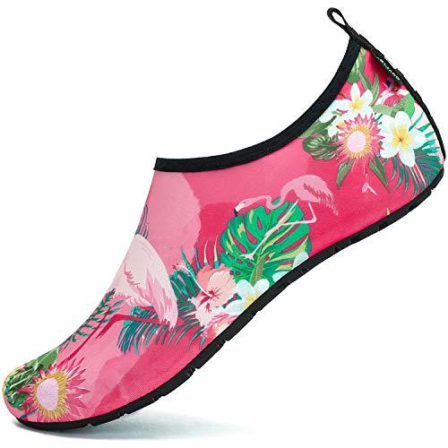 SAGUARO Badeschuhe Wasserschuhe Neoprenschuhe Damen Herren Schwimmschuhe Frauen Strandschuhe Surfschuhe Aquaschuhe Barfuß Schuhe, Blume Pink 38/39 (Schuhe Stoff Blume)