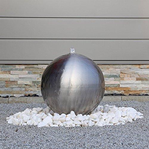 floristikvergleich.de Edelstahl Kugel Springbrunnen ESB4 gebürstet mit 38cm großer Edelstahlkugel Kugelbrunnen mit LED Beleuchtung