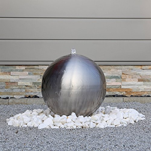 hundeinfo24.de Edelstahl Kugel Springbrunnen ESB4 gebürstet mit 38cm großer Edelstahlkugel Kugelbrunnen mit LED Beleuchtung