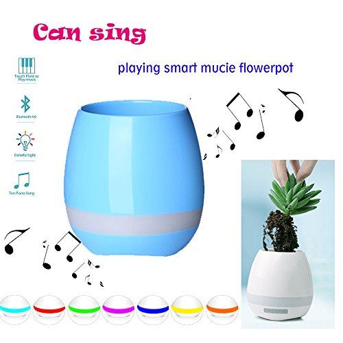 Smart Music impermeabile Flowerpot, Touch Plant pianoforte musica giocare vaso di fiori con LED colore chiaro rotonda vasi e Bluetooth wireless speaker per ufficio/casa Blue