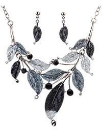 Yazilind Tibetan Silver Gray Bleak Leaf Branch Crystal Chunky Bib Earrings Necklace Set
