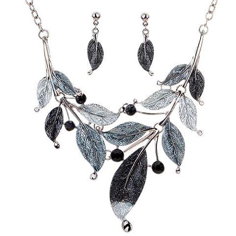 Yazilind Vintage Design Tibetan Silver Gray Bleak Leaf Branch Crystal Chunky Bib Earrings Necklace Jewelry Set for Women Wedding Party