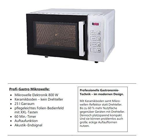 Silva-Homeline MW 2380 Mikrowelle / 42.5 cm / Keramikboden – kein Drehteller / pflegeleichtes Folien-Bedienfeld mit XXL-Tasten