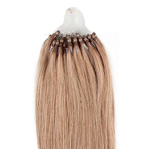 Beauty7 100 Extension de Cheveux Naturel 50CM EASY LOOP Anneaux Pose a Froid Couleur #18 Poids 50g