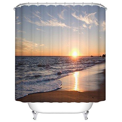 Sonnenuntergang viele schöne Duschvorhänge zur Auswahl, hochwertige Qualität, Wasserdicht, Anti-Schimmel-Effekt 180 x 200 cm (Halloween Schwarze Katze Silhouette Muster)