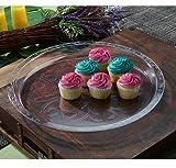 Paquete de 2 bandejas redondas de plástico con aspecto de cristal | Bandejas decorativas con borde alto | Plato de plástico para alimentos - 40,5 cm