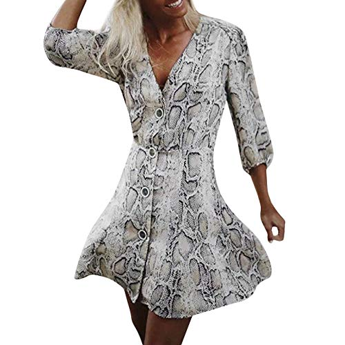 Millenniums Mini Sexy Robe Imprimé Peau de Serpent Bouton Élégant Grande Taille Casual Automne Party Bar Pin-up Robes Plissées Cocktail Bal (XL)