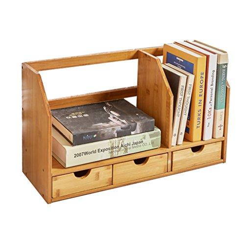 ZMSJ-YJ Bambus Massivholz Einfache Bücherregal Desktop Regal Desktop versenkbare Bücherregal mit Schublade Bücherregal