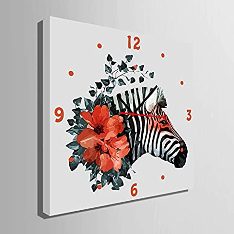 ZRF-pittura Clock Zebra fiore decorativa non dipinto orologio ristorante in camera soggiorno camera da letto per bambini scatola,50 * 50CM?senza