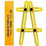 Règle Multi-Angles Mesure Pliable, ERAY Outil Angle-Izer en ABS, Écrous et Boulons Métallique, Échelle Gravée au Laser, Mesure d'angle CM et IN, Angle et Formes Variés, Sac de Protection