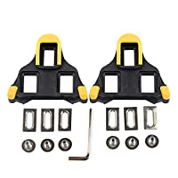 Beststar Bike Cleats - Self-locking Cycling Pedals Cleat - Indoor Cycling & Road Bike Bicycle Cleat Set, Compatible with Shimano&Look Shoes #81539 (Yellow)
