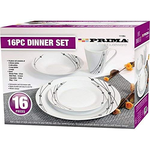 16PC DINNER SET BOWL PLATE MUG SOUP SIDE PORCELAIN CUP GIFT KITCHEN SERVICE NEW (BLACK PATTERNS) Service Plate