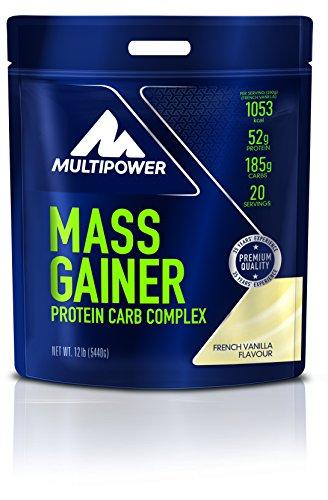 Multipower Mass Gainer French Vanilla – Weight Gainer für den schnellen Muskelaufbau – Eiweißpulver mit hochwertigen Proteinen und Kohlenhydraten – Vanille – 5,44 kg