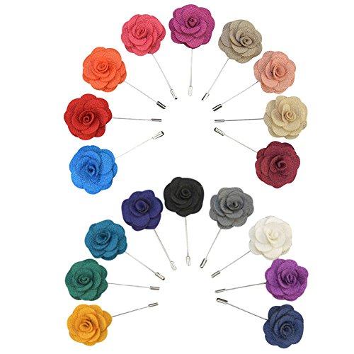 Soleebee YM008 Ansteckblumen Gemischt zufällig Herren Handgefertigt Revers Pin Blume Set im Knopfloch Schläger Revers Krawatte Brosche Kamelie Boutonniere für Anzug (zufällig 15 ()