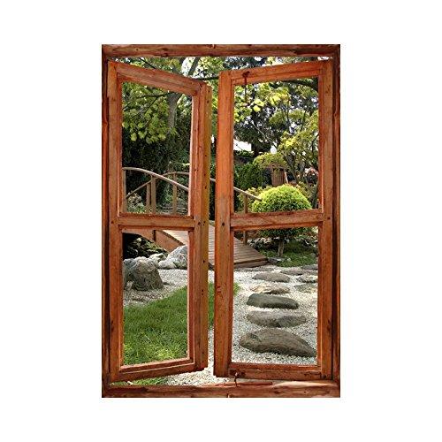 Adesivi trompe l'oeil, disegno finestra su giardino giapponese, l 90cm x h 135cm