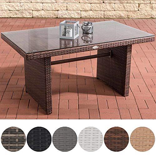 CLP Polyrattan-Gartentisch FISOLO mit Einer Tischplatte aus Glas I Wetterbeständiger Tisch aus Polyrattan Braun Meliert