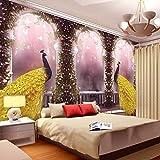 HONGYAUNZHANG Rosa Mädchen Pfau Benutzerdefinierte Fototapete 3D Stereoskopischen Wand Wohnzimmer Schlafzimmer Sofa Hintergrund Wandmalereien Kinderzimmer,170Cm (H) X 250Cm (W)