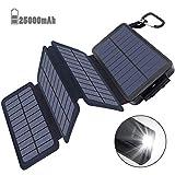 Powerbank Solar Externer Akku 25000mAh Solar Ladegerät mit 4 Solar Panels Dual USB