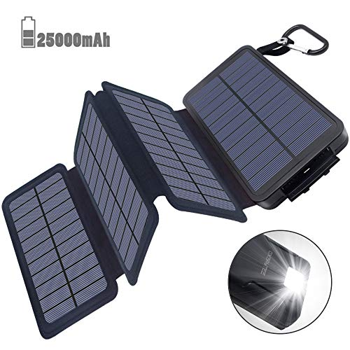 Powerbank Solar Externer Akku 25000mAh Solar Ladegerät mit 4 Solar Panels Dual USB 2.1A, Notfall-Energie mit LED-Licht & Haken für iPhone,Samsung,iPad,und andere Smartphones/Handys, Wasserdicht Usb Solar Panel