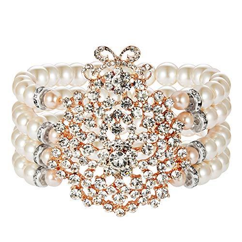 ArtiDeco 1920s Armband Perlen Damen Gatsby Kostüm Zubehör Blinkende Kristall Armreif 20er Jahre Accessoires für Damen (Stil 1-Rose Gold)