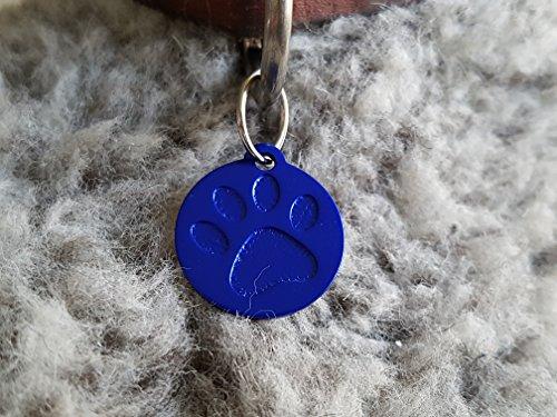 Gravuren.store 2 Stück Hundemarken Rund Pfote Adressanhänger aus Aluminium, mit Lasergravur, Dog Tag (Blau) -
