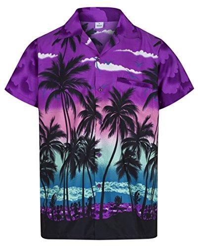 (Redstar Fancy Dress - Herren Hawaiihemd - kurzärmelig - Palmenmotiv - Verkleidung Junggesellenabschied - alle Größen - Lila - L)