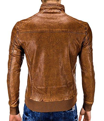 BetterStylz BernayBZ Veste Jacket Homme faux cuir fermeture éclair blouson vegan M-XXXL Camel