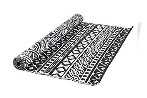 MaximaVida luxuriöser Outdoor Teppich Ubud- schwarz/weiß -120 x 180 cm - hergestellt in Indien