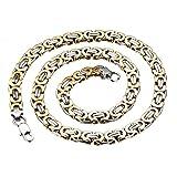 Königskette Gold Herren Halskette Armband Set 2pcs, Vintage Biker Edelstahl Ketten 66cm Armband 21.5cm (Halskette)