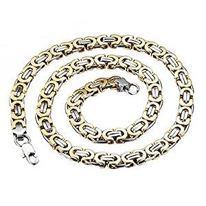 Königskette Gold Herren Halskette Armband Set 2pcs, Vintage Biker Edelstahl Ketten 66cm Armband 21.5cm