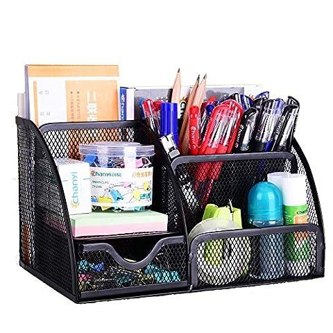 Meuble de rangement de fournitures de bureau VANRA en mailles métalliques, rangement des fournitures scolaires, meuble de rangement à 6compartiments avec tiroir noir