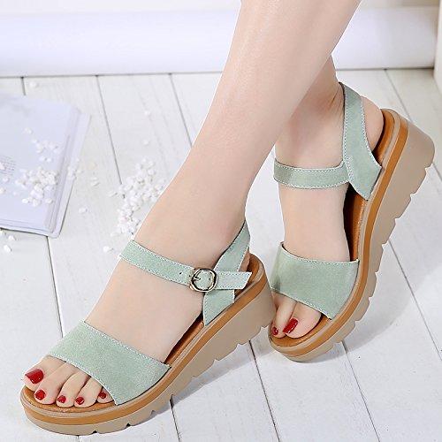 Xing Lin Sandales Pour Dames Nouvelles D'Été Étudiant En Cuir Bas Les Chaussures Avec Des Sandales Dans La Plate-Forme Chaussures Leather green