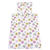 TupTam Baby Kinderwagen Bettwäsche Set Wiegenset 60x75 4 tlg, Farbe: Sterne Hello rosa, Größe: ca. 60 x 75 cm